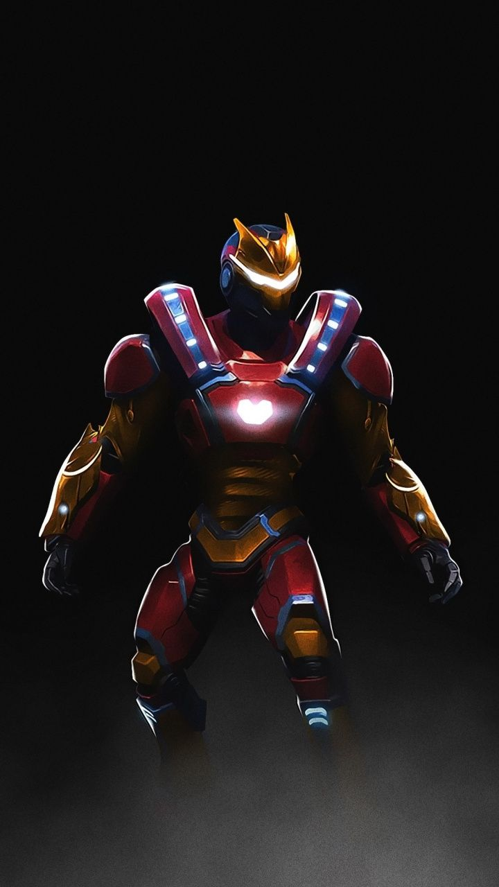 Fortnite, video game, ironman skin, art, 720x1280