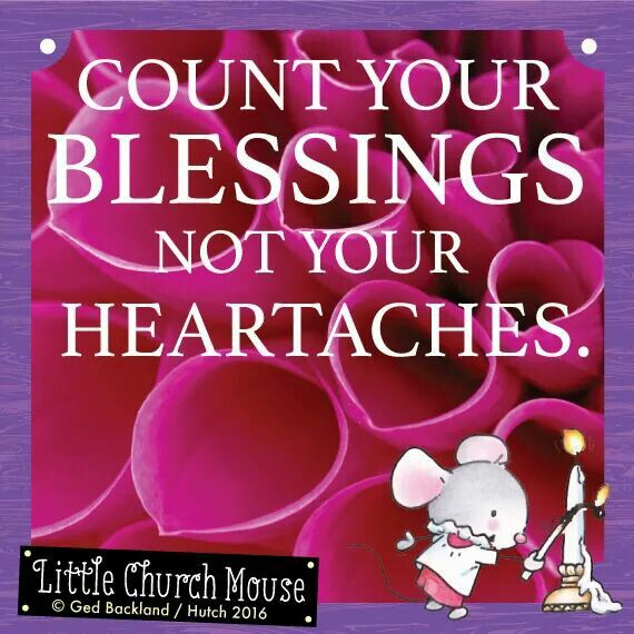 ❤❤❤ Count your Blessings not your heartaches. Amen...Little Church Mouse 20 March 2016 ❤❤❤
