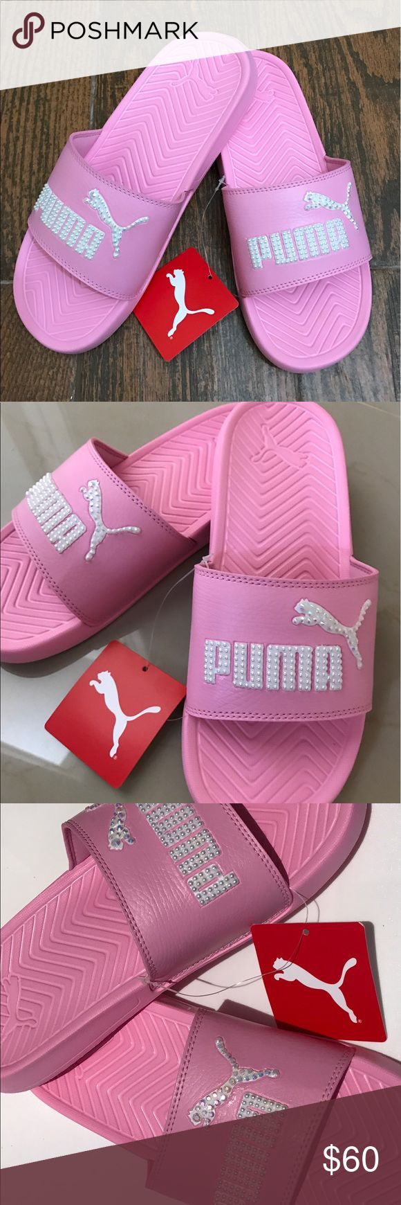 Bling Puma Slides Pretty pink Puma Slides blinged with Faux pearls and resin rhinestones. Each stone laid by hand with love. Use only the best materials Puma Shoes Sandals