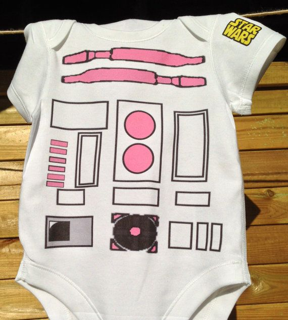 R2 She2 (Girls R2 D2) -Baby Girls -May the Force be with you - Funny Robot Baby- Star Wars- Onesie by Retrostate on Etsy, $14.56