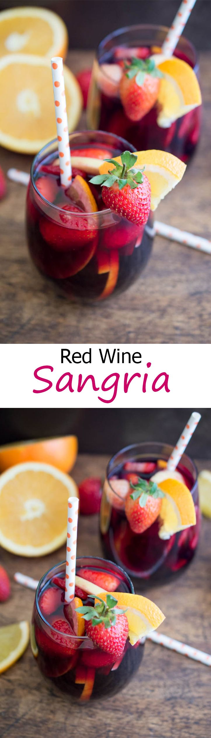 Fruity Red Wine Sangria. Made with fresh fruit, red wine, brandy and pomegranate juice. Perfect Fall or Winter cocktail. | chefsavvy.com #recipe #drink #sangria #fruit