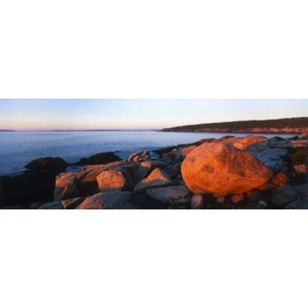Rock formations on the coast Otter Creek Cove Acadia National Park Mount Desert Island Hancock County Maine USA Canvas Art - Panoramic Images (18 x 7)