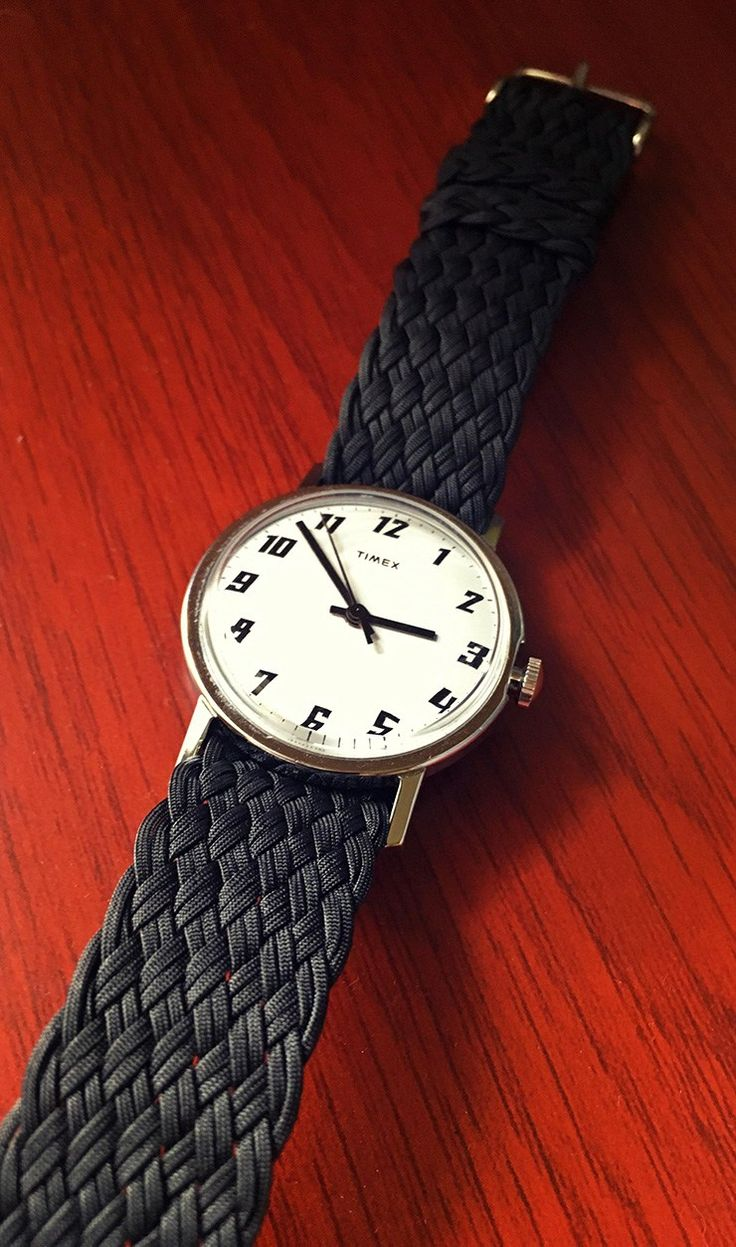 Clockwork Synergy Black Double Braided Perlon Strap on a Timex Watch.