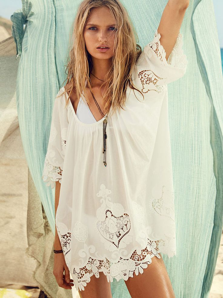 Now's the time to go all-out boho. Delicate embroidery, airy cutouts and a breezy silhouette make this tunic the ultimate in festival fashion. | Victoria's Secret Flouncy Embroidered Tunic