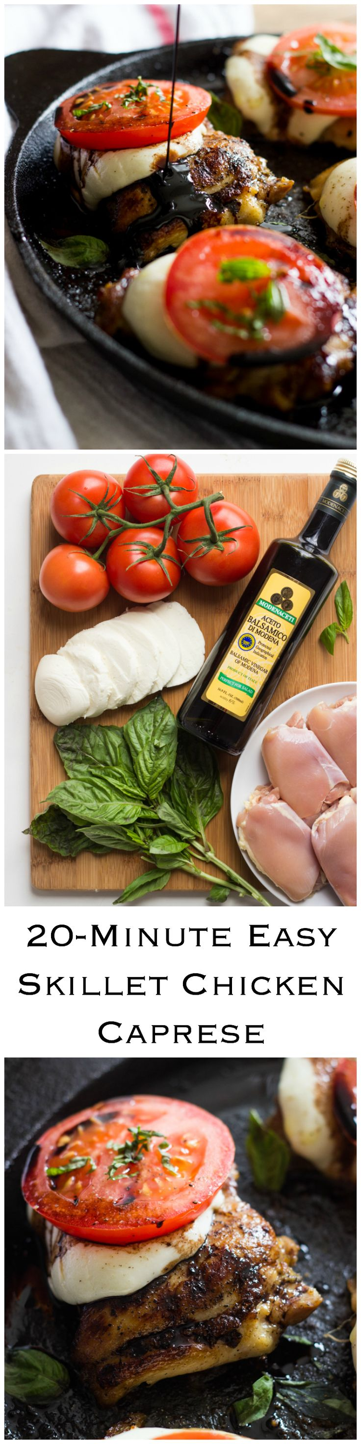 20-Minute Easy Skillet Chicken Caprese - juicy, tender, chicken thighs topped with mozzarella, tomato, basil and balsamic reduction. Effortless and delicious chicken dinner!   littlebroken.com @littlebroken