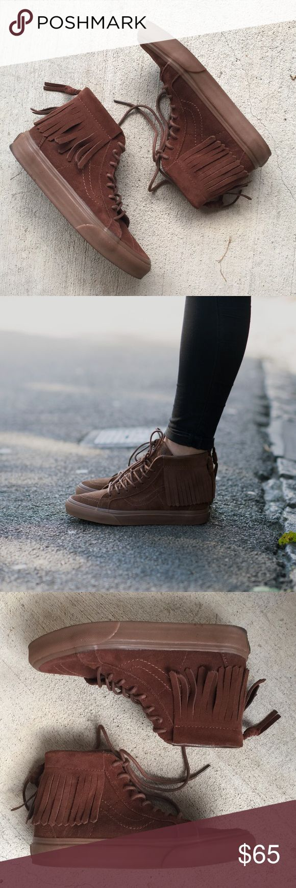 New Vans sk8 hi moc brown suede sneakers Brand new vans sk8 hi moc fringe high top lace up brown suede sneakers, women's 5.5. Retail for $80 at Vans, Urban Outfitters and Madewell. Perfect condition. Only selling because I need to downsize and I literally have these in every color! Vans Shoes Moccasins