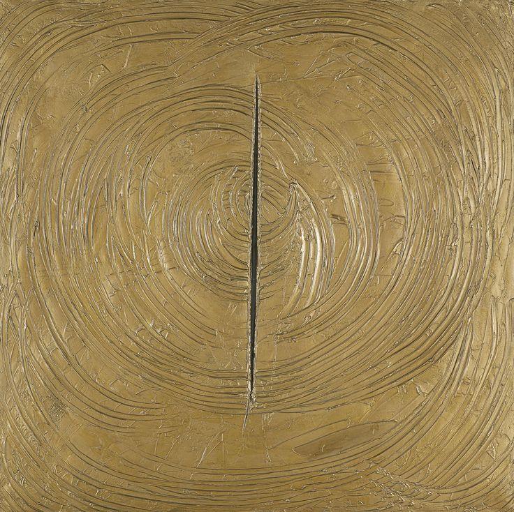 Lucio Fontana, Venezia era tutta d'oro, 1961, alkyde sur toile, 149x149 cm, Madrid, Musée Thyssen-Bornemisza
