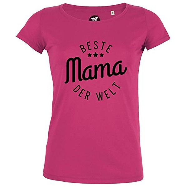 FABTEE - Beste Mama der Welt - Damen T-Shirt Bio Baumwolle - verschiedene Farben - Größen S-2XL, Größe:L;Farbe:Pink