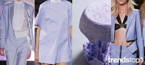 S/S 2016 Women's Key Color:COSMIC LAVENDER MM6 Maison Martin Margiela, Alexander Wang, both Spring/Summer 2014, The Accident Stool by Hye Jeong Cheon, Versace Spring/Summer 2014.