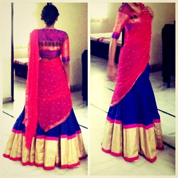 Two Tone Lehenga/ Half Saree at Palki - Two tone lehenga/ half saree. Pink and clue with thick zari border.