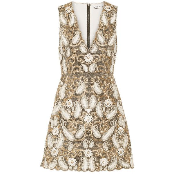 Alice + Olivia Jania embellished mesh mini dress ($715) ❤ liked on Polyvore featuring dresses, gold, brown dress, brown cocktail dress, embroidered dress, beaded dress and short beaded cocktail dresses