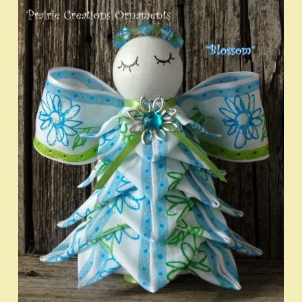 Angel Quilted Ornament Spring Blue and Green - Blossom | Prairie Creations Ornaments $25.00