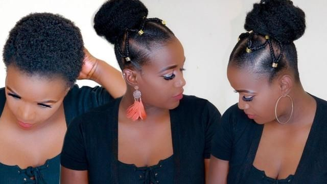 Summer Top Knot Bun With Tribal Braids On 4c Natural Hair Natural Hair Styles 4c Natural Hair Bun Hairstyles