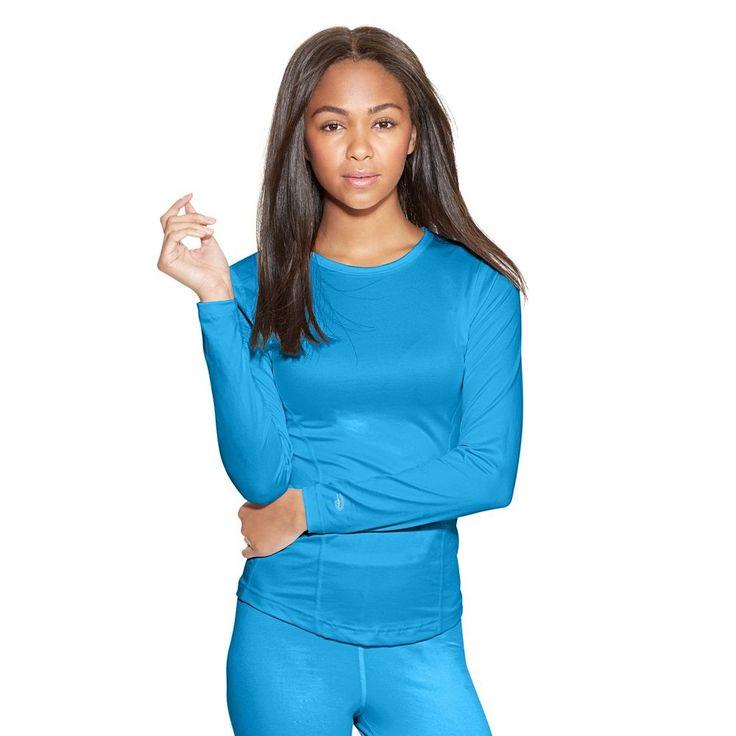 Women's Champion Varitherm Crewneck Base Layer Top, Size: Large, Med Blue