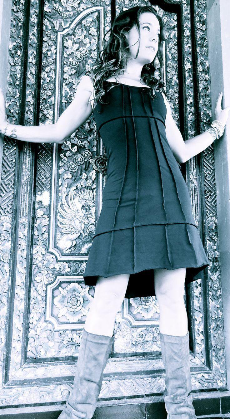 Dress Basic The Dress Black Cotton Lycra Dress by SATICREATION