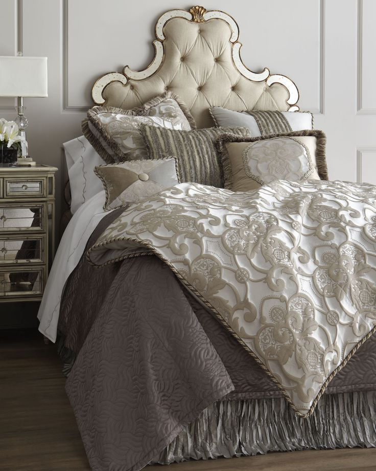 "Cafe Au Lait Bedroom With Damask Wallpaper: ""Pure Pewter"" Bed Linens - Horchow"