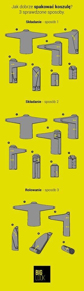Kolejna porada - 3 sprawdzone sposoby na pakowanie koszuli.