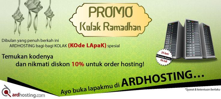 Dibulan yang penuh berkah ini ARDHOSTING bagi-bagi Promo KOLAK (KOde LApaK) special ARD. Cuma dengan like fanspage Ardhosting dan share post ini di timelinemu, dan dapatkan diskon 10% untuk order hosting. Code Promo: ARDH2406. Yuk jangan sampai ketinggalan, buka info selengkapnya di: http://blog.ardhosting.com/2016/06/24/promo-kolak-ramadhan/ . #ardhosting #promohosting #pakethosting #hostingmurah