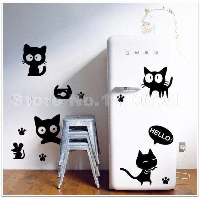Cartoon black cat cute DIY Vinyl Wall Stickers For Kids Rooms Home Decor Art Decals 3D Wallpaper