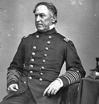 Portrait of Rear Admiral David G. Farragut, officer of the Federal Navy. Brady National Photographic Art Gallery, between 1860 and 1865. Civil War Glass Negatives and Related Prints. Prints & Photographs Division