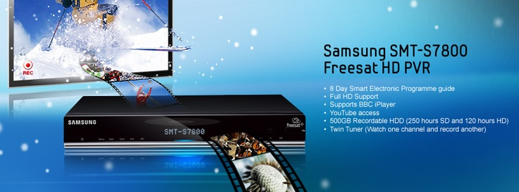 he sleek and stylish Samsung S7800 Freesat HD PVR (Personal Video Recorder) provides choice and flexibility with the ability to record up to 250 hours of standard definition or 120 hours of high definition recording with its 500GB of storage. No longer do you have to watch the channel you want to record with the in-built twin tuner, you can record one channel whilst watching another. If you have missed a programme download it from BBC iPlayer or ITV player or view content onlin...