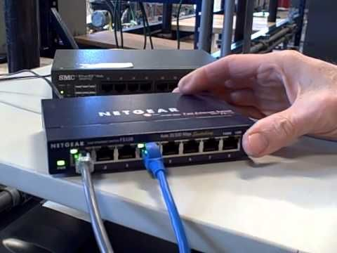 The difference between an ethernet switch and an ethernet hub.