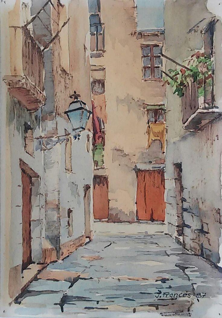 carrer Montanyans (Ciutat Vella) Barcelona   watercolor   Joaquim Francés