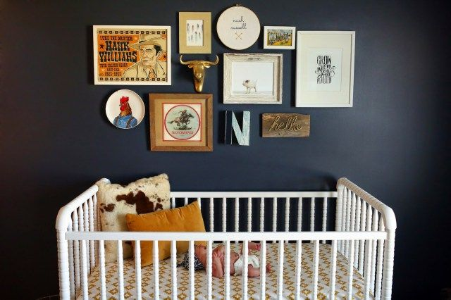 Vintage cowboy, farm-themed, navy nursery.