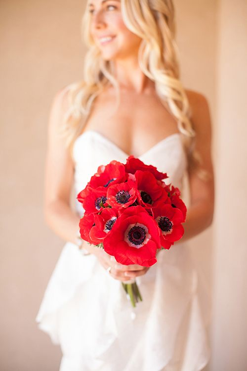 Red anemone bridal bouquet | Dennis Kwan Weddings | Brides.com