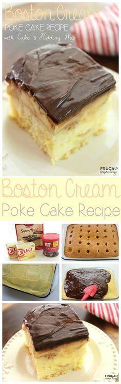 Amazing Boston Cream Poke Cake Recipe on Frugal Coupon Living - Cake Mix recipe using Pudding Mix. Easy Dessert Idea.