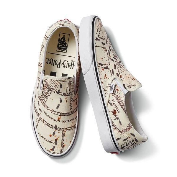 Vans X Harry Potter Marauders Map Classic Slip On Men S Women S Skate Shoes Threadzrideshop Skateboards Skatebo Vans Shoes For Sale Vans Homecoming Shoes