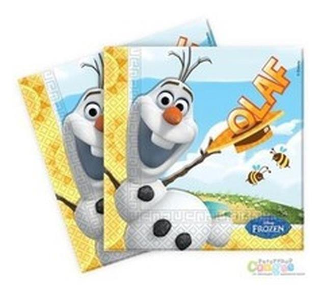 Zestaw serwetek jednorazowych z nadrukiem postaci Olafa z kultowej bajki Frozen - Kraina Lodu.
