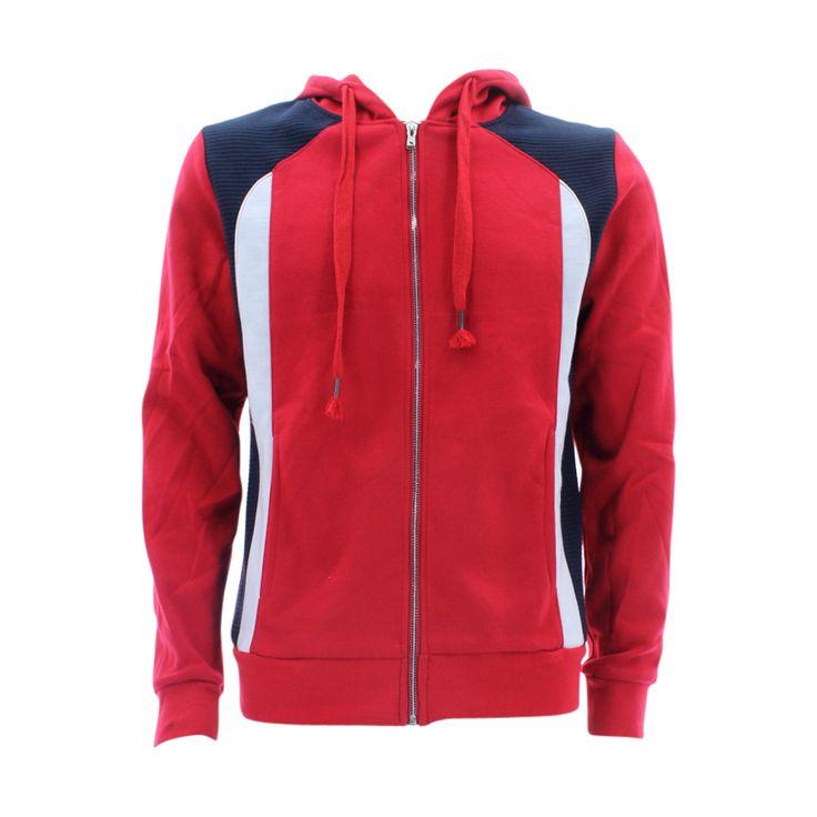 Rebel Jeans - Men's Moto Full Zip Hoodie Sweatshirts - Red/Navy