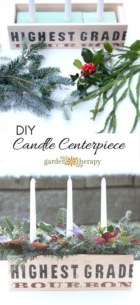 A rustic and natural Christmas candle centerpiece planter can be used as table d...