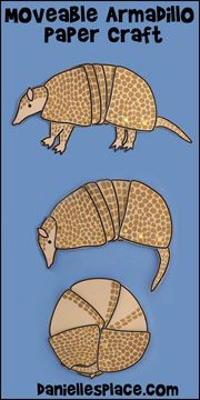 Three Banded Armadillo Moveable Paper Craft From Www