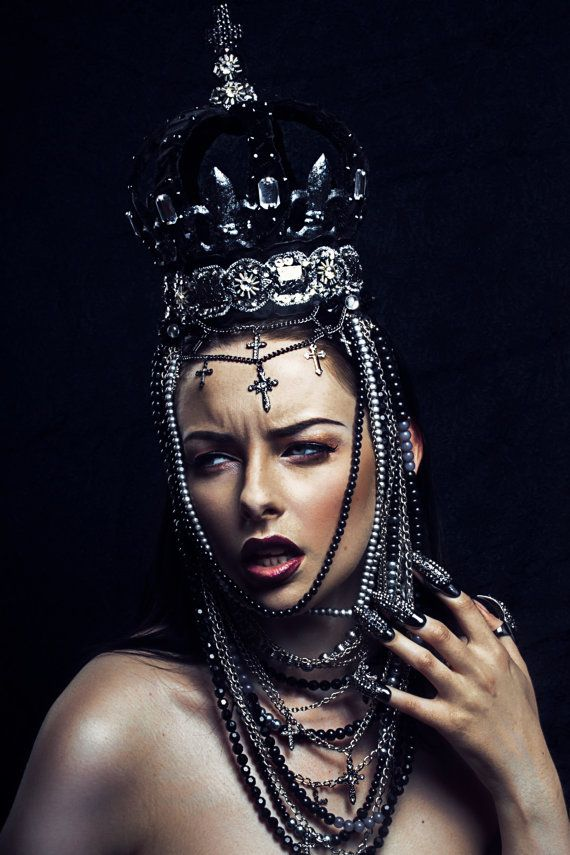 Black and Silver 'Bernia' Beaded Evil Queen by livfreecreations, £230.00