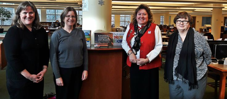 GPO's Kathy Bayer, Lara Flint, and Kathy Carmichael visit Harford Community College Library and meet with Depository Coordinator Andie Craley. This Maryland library has been part of the GPO's Federal Depository Library Program since 1967.