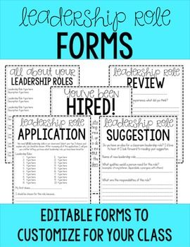 Take the process of assigning your student leadership roles (aka classroom jobs) to the next level. Include your students in the process and you'll see them really take ownership of their roles. Please read to find out what's included. Happy teaching!The following forms are included:1.