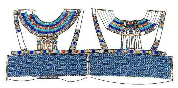 Egyptian Museum - Corselet of Tutankhamun - Materials : GOLD, CARNELIAN, IVORY, GLASS, AND FAIENCE   NEW KINGDOM: 18TH DYNASTY: TUTANKHAMUN/NEBKHEPERURE   Height (cm) : 40   Length (cm) : 85