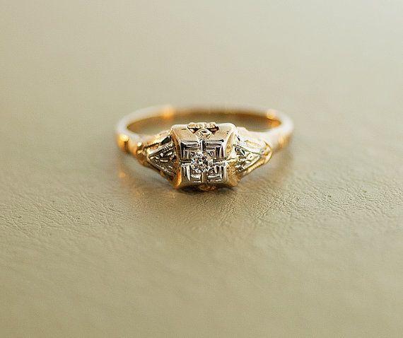 vintage engagement ring 10k two tone ring