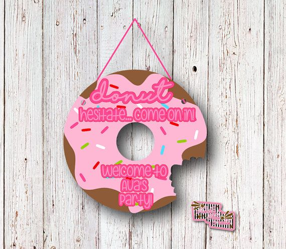 Donut Party Welcome Sign, Birthday Party, Breakfast Party, Brunch, Doughnut Birthday, Door Sign, Party Decorations, Birthday Supplies, Donut