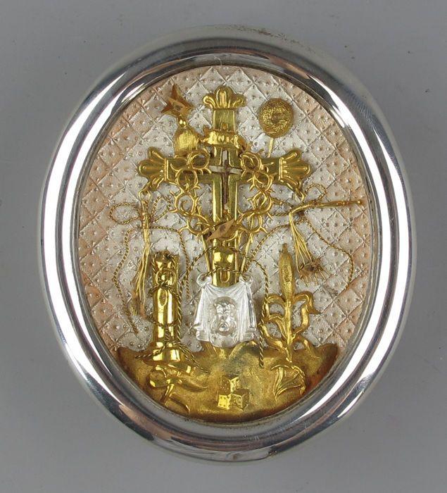 Groot Antiek zilver Kus Relikwie, Heilig Kruis Reliek - True Cross Relic - Vera Cruz - 19de eeuw.