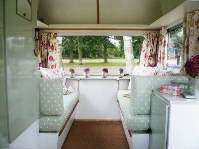 Cute Vintage Caravan Interior With Mint Green Polka Dot Seat Coverings