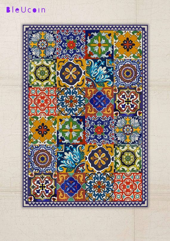 Hey, I found this really awesome Etsy listing at https://www.etsy.com/listing/251847159/floor-vinyl-rug-mexican-talavera-style