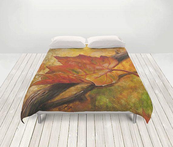 DUVET COVER  autumn bedroom decor orange queen by UniqueArtHome