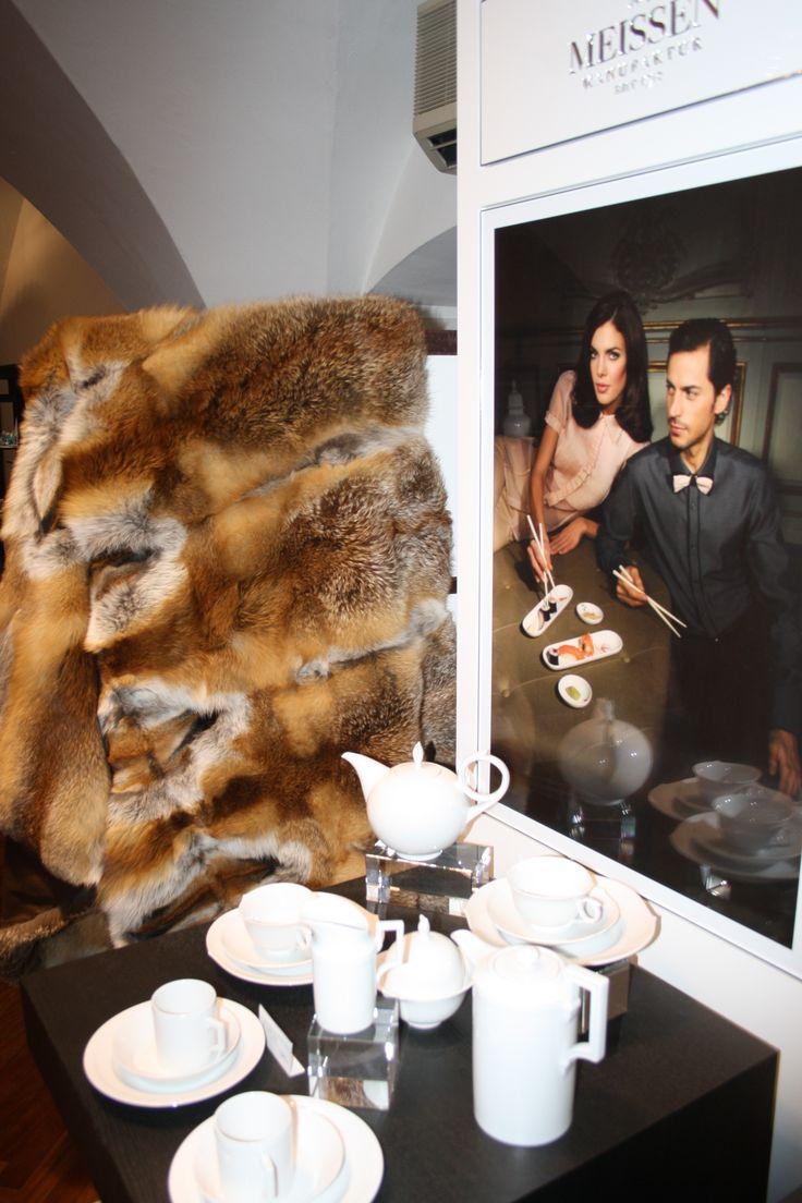 Kuschelige Pelzdecke aus Fuchs und Geschenkset MEISSEN