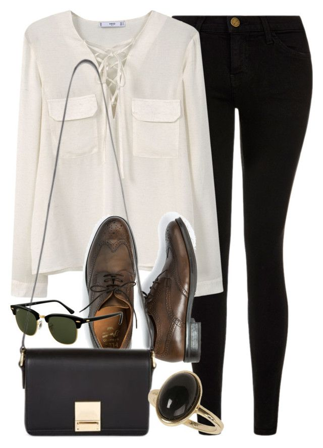 """""""Style #10233"""" by vany-alvarado ❤ liked on Polyvore featuring Current/Elliott, MANGO, H.E.BY MANGO, Rayban, Jaeger and Dorothy Perkins"""