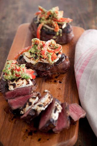 // Black Pepper Crusted Filet Mignon with Goat Cheese
