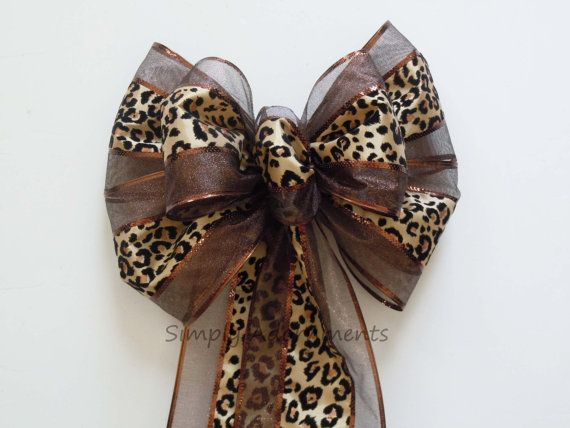 Leopard Print Wedding Pew Bow Brown Leopard Themed Party Decor by SimplyAdornmentsss,