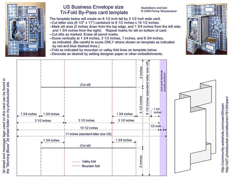 """Card Templates :: 8 1/2 x 3 1/2 Tri-fold By-Pass card.  NOTE: The links are """"funny"""" on this site, and seem to take you to a random page each time. This template is on page 27"""